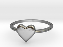 Heart-ring-solid-size-9 in Polished Silver