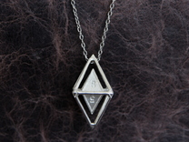 d8 Dice Pendant in Polished Silver