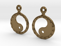 YinYang EarRings 2 - Pair - Metal in Polished Bronze