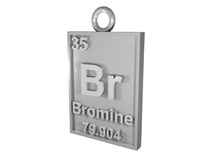 Bromine Periodic Table Pendant in Raw Silver