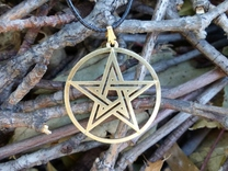 Pentacle Pendant in Raw Brass