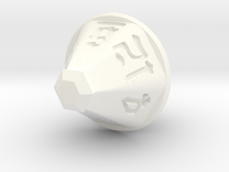 Jewel 12 Sided Die in White Strong & Flexible Polished