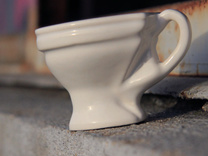 Toilet coffee cup in Gloss White Porcelain