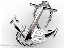 Anchor With Logo in Polished Metallic Plastic