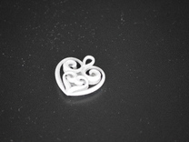 Heart-shaped Pendant 25mm in Polished Metallic Plastic
