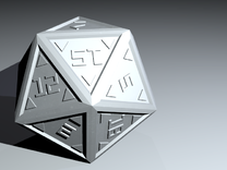 Digital: Stylized d20 in White Strong & Flexible Polished