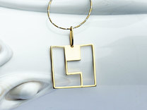 Tetromino Pendant - Square in 18K Gold Plated