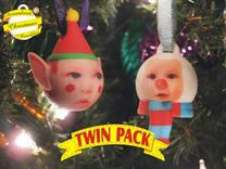 Elf & Snowman baubles twin pack (personalised) 3D  in Full Color Sandstone