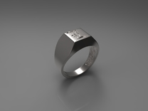 Letter L Ring 001 in Polished Silver