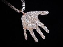 Pendant Baby hand in Polished Silver