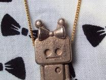 tiny Girl Robot pendant in Stainless Steel