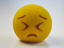 3D Emoji Frowning with Eyes Shut Tight in Full Color Sandstone