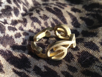 Treble Clef Ring (Size 5)  in Raw Brass