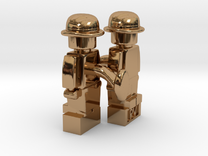 2 x Bowler Cufflinks in Polished Brass