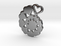 Heart Swirl Fractal Pendant in Polished Silver
