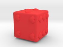 Embossed Hearts Dice in Red Strong & Flexible Polished