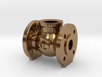 Globe Valve 180 deg. - flange mount in Raw Brass