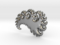 Abstract 3D Fractal Pendant in Polished Silver