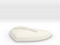 Heart Pendant Silvia insert in White Strong & Flexible