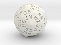 d120 Alphabet Dice in White Strong & Flexible