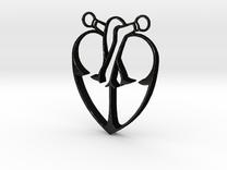 Storybook-Organic Heart Pendant in Matte Black Steel
