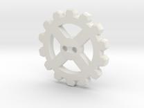 Cogwheel Button 02 in White Strong & Flexible
