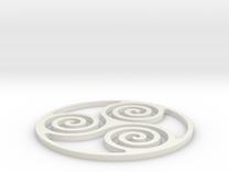 Triskelion Coaster 3 in White Strong & Flexible