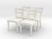 1:36 Dog Bone Chairs (Set of 4) in White Strong & Flexible