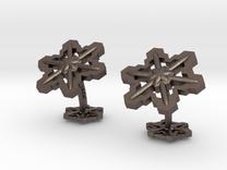 Snowflakes3Cufflinks in Stainless Steel