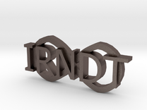 """IRNDT Logo Badge 1.3"""" height in Stainless Steel"""
