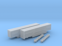 1:160 N Scale 3 Axle 53' Livestock Trailer x2 in Frosted Ultra Detail