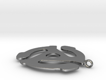 45 Record Player Adapter Pendant in Polished Silver