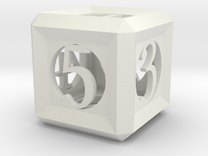 Hollow d6, 2cm in White Strong & Flexible