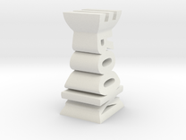 Typographical Rook Chess Piece in White Strong & Flexible