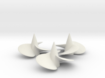 Three ship propellers f. Bismarck/Tirpitz 1/200 V2 in White Strong & Flexible
