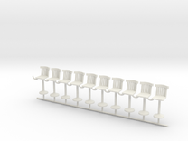 S Scale Bar Stools version B X10 in White Strong & Flexible