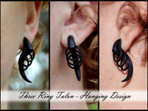 Three Ring Talon Earrings (select a size) in Black Strong & Flexible