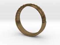 Atom Array Ring Detailed Half in Raw Bronze