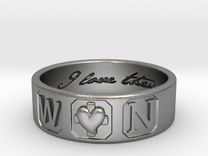 W and N Ring Size 6 in Raw Silver
