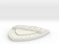 Judge Dredd shield badge - Comic version in White Strong & Flexible
