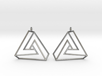 Impossible earrings with a twist  in Polished Silver