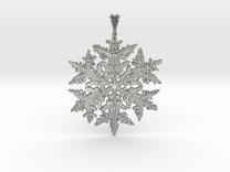 Wilson Bentley Snowflake Crystal Pendant in Raw Silver