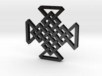 Gothic Woven Cross in Matte Black Steel