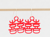 Double Happiness Earrings in Red Strong & Flexible Polished