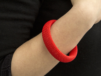 Medium Size - Textile Bracelet in Red Strong & Flexible Polished