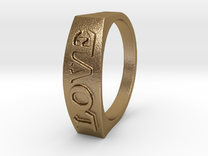 Flat top word ring size 7 love in Polished Gold Steel