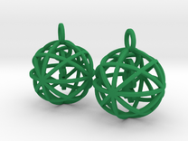 Clover in a Sphere Earrings in Green Strong & Flexible Polished