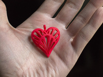 Heart Nouveau Pendant in Red Strong & Flexible Polished