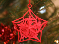 Captured Snowflake - Christmas Ornament in Red Strong & Flexible Polished