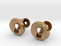 Circle Halo Cufflinks in Polished Brass